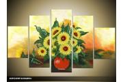 Acryl Schilderij Zonnebloem | Geel, Groen, Oranje | 100x60cm 5Luik Handgeschilderd