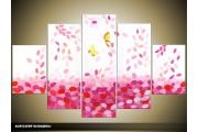 Acryl Schilderij Modern | Roze, Wit | 100x60cm 5Luik Handgeschilderd