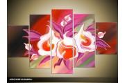 Acryl Schilderij Modern | Paars, Rood, Crème | 100x60cm 5Luik Handgeschilderd