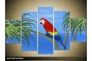 Acryl Schilderij Vogel | Rood, Blauw, Groen | 100x60cm 5Luik Handgeschilderd
