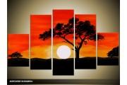 Acryl Schilderij Natuur | Zwart, Oranje, Geel | 100x60cm 5Luik Handgeschilderd