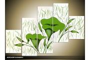 Acryl Schilderij Modern | Wit, Groen | 100x60cm 5Luik Handgeschilderd