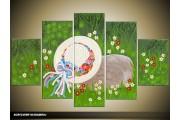 Acryl Schilderij Lente | Groen, Grijs | 100x60cm 5Luik Handgeschilderd