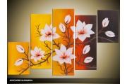 Acryl Schilderij Natuur | Geel, Bruin, Oranje | 100x60cm 5Luik Handgeschilderd