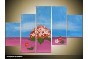 Acryl Schilderij Modern | Blauw, Paars, Rood | 100x60cm 5Luik Handgeschilderd