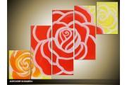Acryl Schilderij Roos | Rood, Oranje, Geel | 100x60cm 5Luik Handgeschilderd