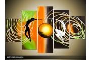 Acryl Schilderij Modern | Oranje, Bruin, Groen | 100x60cm 5Luik Handgeschilderd