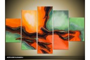 Acryl Schilderij Modern | Oranje, Groen | 100x60cm 5Luik Handgeschilderd