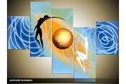 Acryl Schilderij Modern | Blauw, Geel, Goud | 100x60cm 5Luik Handgeschilderd
