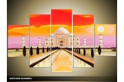 Acryl Schilderij Gebouw | Rood, Geel, Paars | 100x60cm 5Luik Handgeschilderd