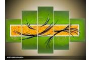 Acryl Schilderij Modern | Groen, Geel | 100x60cm 5Luik Handgeschilderd