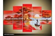 Acryl Schilderij Natuur | Rood, Blauw | 100x60cm 5Luik Handgeschilderd