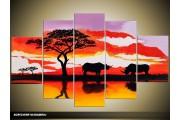Acryl Schilderij Natuur | Rood, Paars, Zwart | 100x60cm 5Luik Handgeschilderd