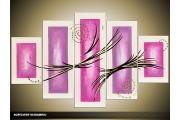 Acryl Schilderij Modern | Paars, Wit | 100x60cm 5Luik Handgeschilderd
