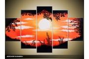 Acryl Schilderij Natuur | Oranje, Zwart, Geel | 100x60cm 5Luik Handgeschilderd