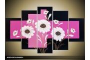 Acryl Schilderij Modern | Paars, Zwart, Wit | 100x60cm 5Luik Handgeschilderd
