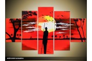 Acryl Schilderij Natuur | Rood, Zwart | 100x60cm 5Luik Handgeschilderd