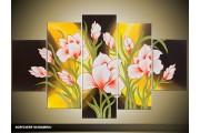 Acryl Schilderij Modern | Geel, Groen | 100x60cm 5Luik Handgeschilderd