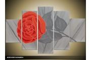 Acryl Schilderij Roos | Rood, Grijs | 100x60cm 5Luik Handgeschilderd