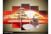 Acryl Schilderij Natuur | Rood, Grijs, Geel | 100x60cm 5Luik Handgeschilderd