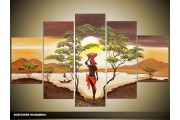 Acryl Schilderij Natuur | Groen, Geel, Bruin | 100x60cm 5Luik Handgeschilderd