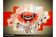 Acryl Schilderij Klaproos | Rood, Zwart | 100x60cm 5Luik Handgeschilderd