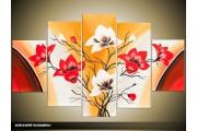 Acryl Schilderij Magnolia | Geel, Rood, Crème | 100x60cm 5Luik Handgeschilderd