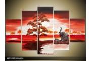 Acryl Schilderij Natuur | Rood, Crème | 100x60cm 5Luik Handgeschilderd