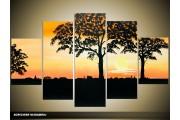 Acryl Schilderij Natuur | Geel, Oranje, Zwart | 100x60cm 5Luik Handgeschilderd