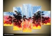 Acryl Schilderij Modern | Blauw, Rood, Geel | 100x60cm 5Luik Handgeschilderd