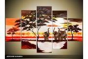 Acryl Schilderij Natuur | Bruin, Geel, Rood | 100x60cm 5Luik Handgeschilderd