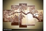 Acryl Schilderij Natuur | Bruin, Crème | 100x60cm 5Luik Handgeschilderd