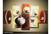 Acryl Schilderij Magnolia | Bruin, Geel | 100x60cm 5Luik Handgeschilderd