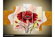 Acryl Schilderij Modern | Goud, Rood, Crème | 100x60cm 5Luik Handgeschilderd