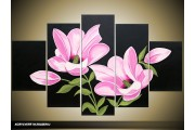 Acryl Schilderij Modern | Roze, Zwart, Groen | 100x60cm 5Luik Handgeschilderd