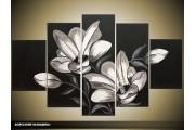 Acryl Schilderij Modern | Wit, Zwart, Grijs | 100x60cm 5Luik Handgeschilderd