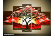 Acryl Schilderij Natuur | Rood, Geel, Bruin | 100x60cm 5Luik Handgeschilderd