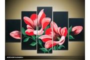 Acryl Schilderij Woonkamer | Rood, Zwart, Groen | 100x60cm 5Luik Handgeschilderd