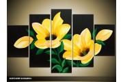 Acryl Schilderij Woonkamer | Geel, Groen, Zwart | 100x60cm 5Luik Handgeschilderd