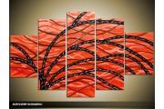 Acryl Schilderij Modern | Rood, Zwart | 100x60cm 5Luik Handgeschilderd