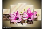 Acryl Schilderij Woonkamer | Roze, Paars, Crème | 100x60cm 5Luik Handgeschilderd