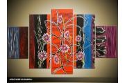 Acryl Schilderij Modern | Rood, Zwart, Paars | 100x60cm 5Luik Handgeschilderd