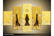 Acryl Schilderij Engelen | Geel, Bruin | 100x60cm 5Luik Handgeschilderd