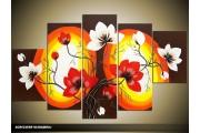 Acryl Schilderij Magnolia | Rood, Zwart, Geel | 100x60cm 5Luik Handgeschilderd