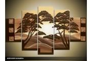 Acryl Schilderij Natuur | Crème, Bruin | 100x60cm 5Luik Handgeschilderd