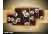 Acryl Schilderij Modern | Crème, Bruin | 100x60cm 5Luik Handgeschilderd