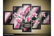 Acryl Schilderij Modern | Paars, Roze, Grijs | 100x60cm 5Luik Handgeschilderd