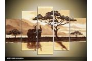 Acryl Schilderij Natuur | Geel, Bruin | 100x60cm 5Luik Handgeschilderd