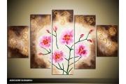 Acryl Schilderij Woonkamer | Roze, Crème, Bruin | 100x60cm 5Luik Handgeschilderd