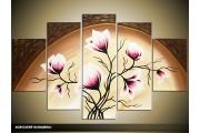 Acryl Schilderij Magnolia | Roze, Crème, Bruin | 100x60cm 5Luik Handgeschilderd